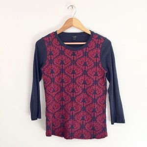 J. Crew Blouse Navy Red Brocade Front 3/4 Sleeve